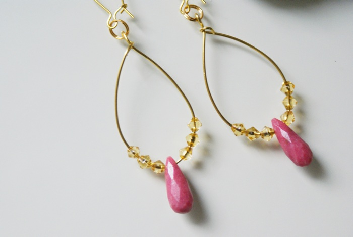 earrings rodhonite orecchini rodonite cristalli