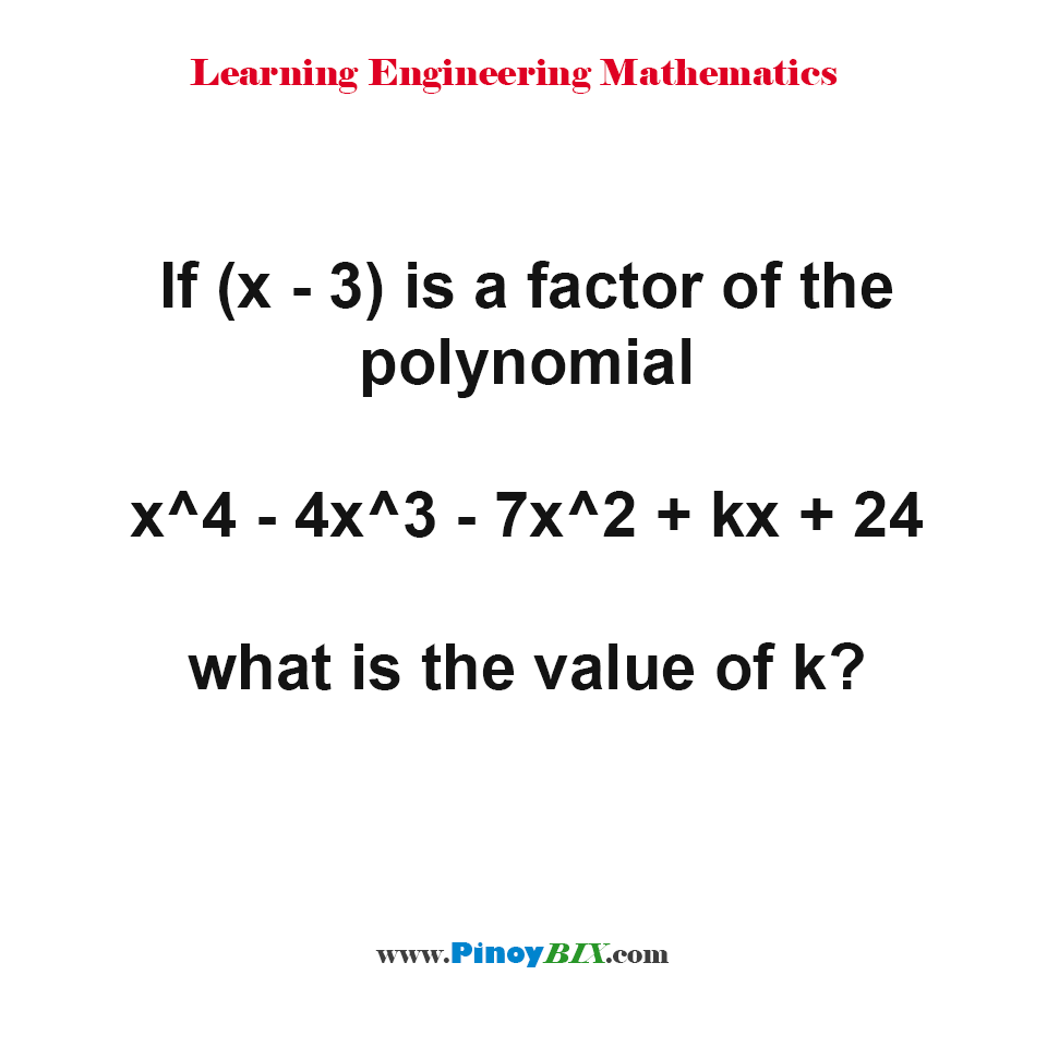 what is the value of k in the polynomial?