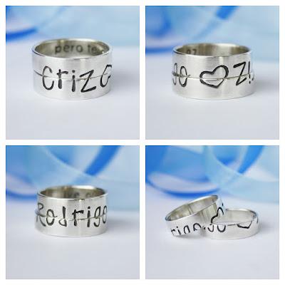anillos con nombres y corazones