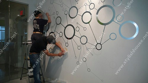 Stylish circles wall stickers for living room walls