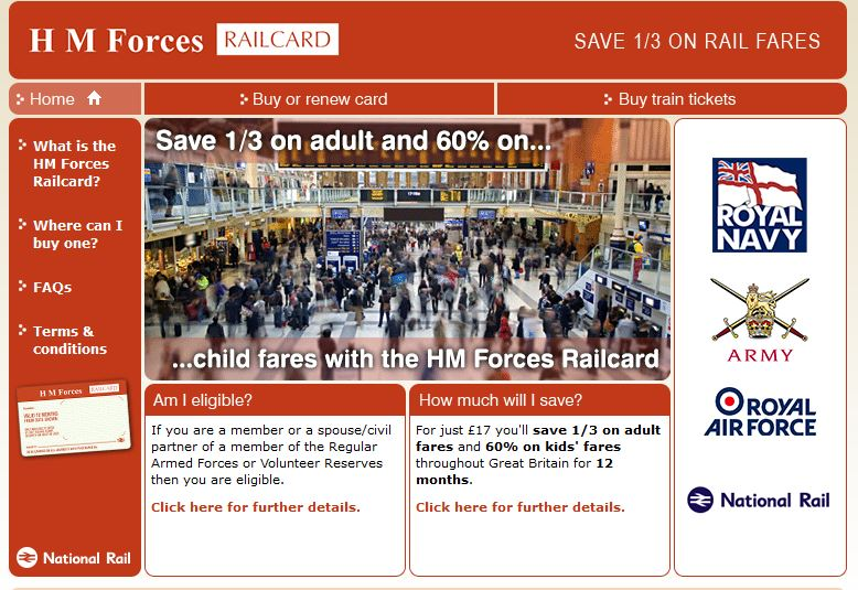 HM Forces Railcard Save A 1 3 On Rail Fares