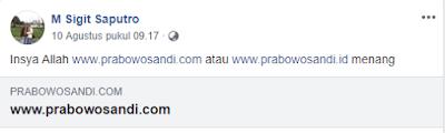 penjual webiste Pasangan Calon Presiden adalah Pendukung Probowo
