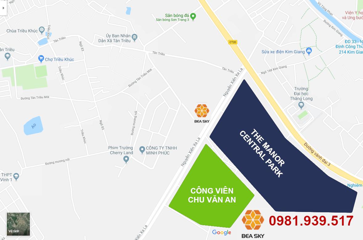 Vị trí dự án Bea Sky Nguyễn Xiển | Ảnh chụp Google Map