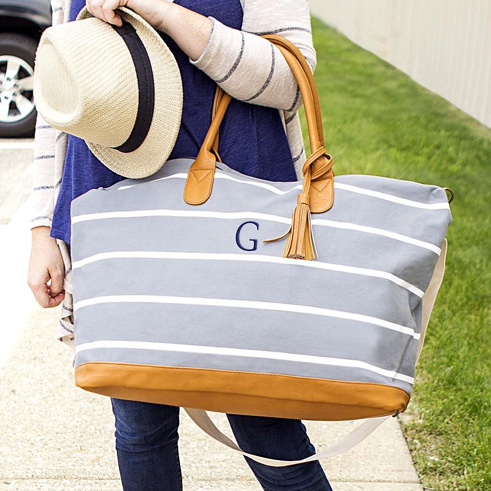 Grey Striped Weekender Tote Bag