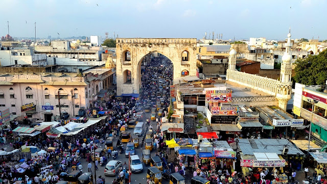 Laad Bazaar near Charminar -Famous for Pearls and Bangles - Hyderabad Indai