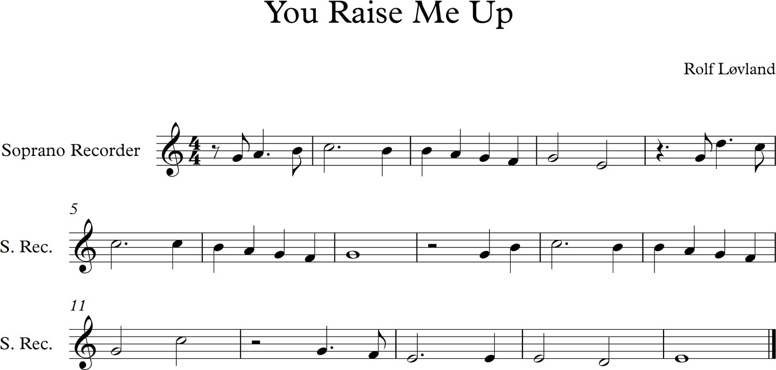 PTPS Music: You Raise Me Up - Recorder Part (Chorus)