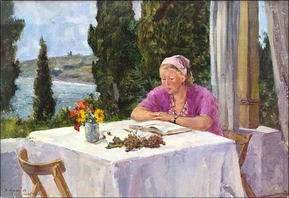 Крылов Порфирий Никитич На балконе. Гурзуф. 1954 г. Музей П.Н. Крылова,Тула