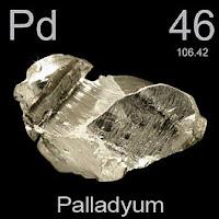 Paladyum elementi üzerinde paladyumun simgesi, atom numarası ve atom ağırlığı.