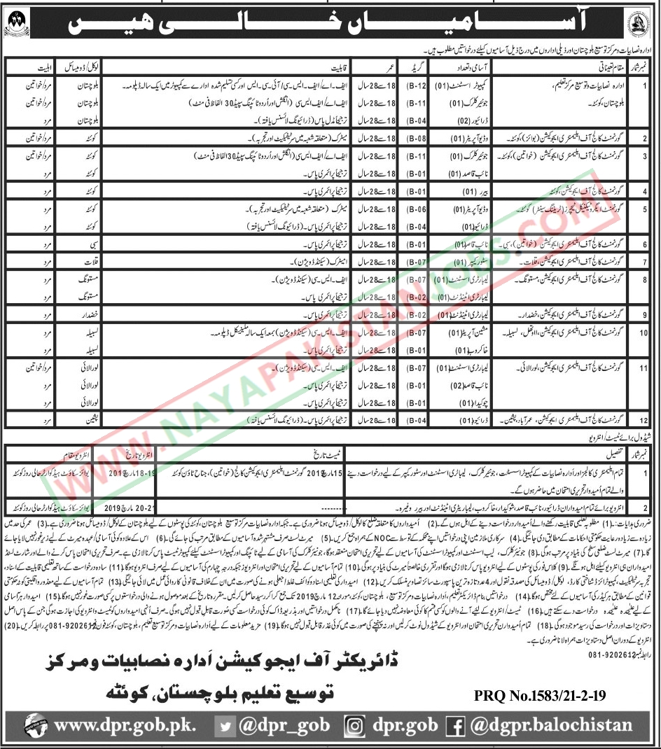 Balochistan Education Jobs, Balochistan Education Department Jobs 2019 February