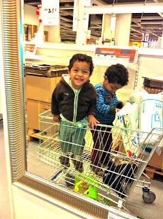 Twins in shopping cart at IKEA