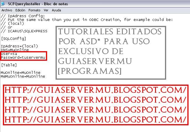 Configuración del querryinstaller con los datos de logueo sql