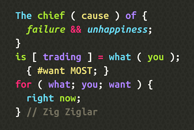 The chief cause of failure failure and unhappiness is trading what you want most for what you want right now. - Zig Ziglar