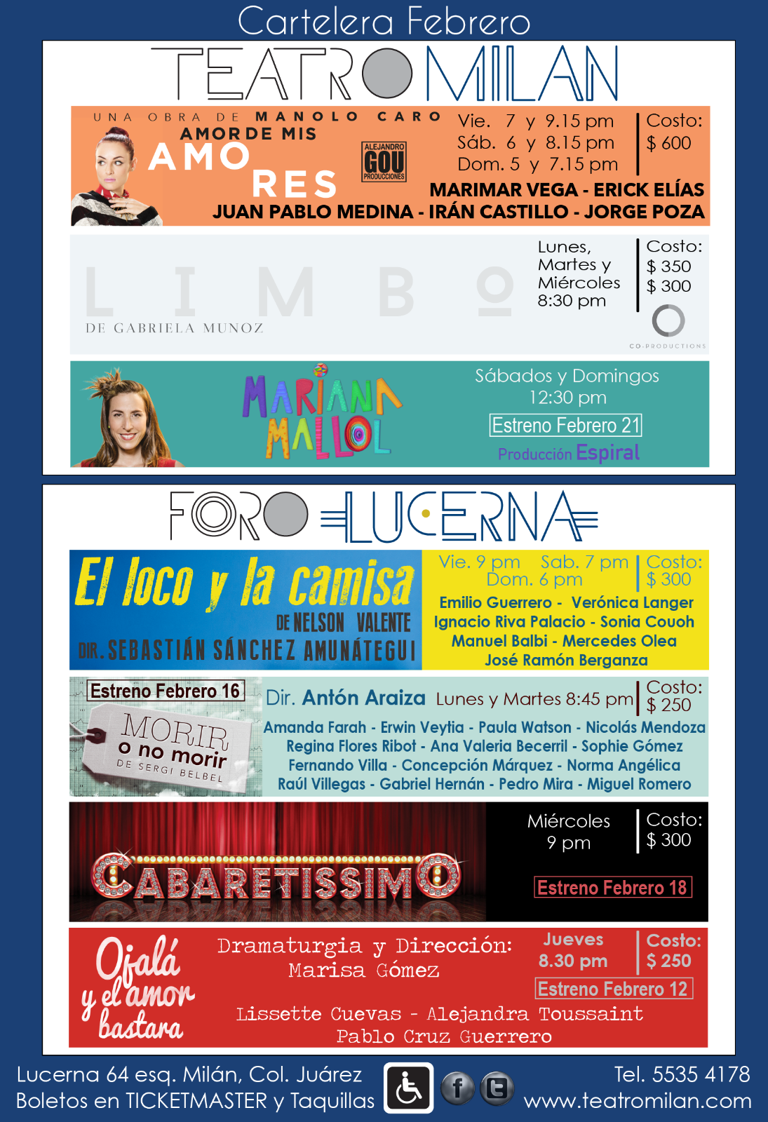 Da click sobre la imagen para ir al sitio web del Teatro Milán y Foro Lucerna
