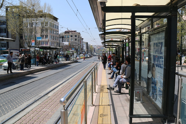 Metro (subway) is running on the busy streets of Istanbul city in Turkey