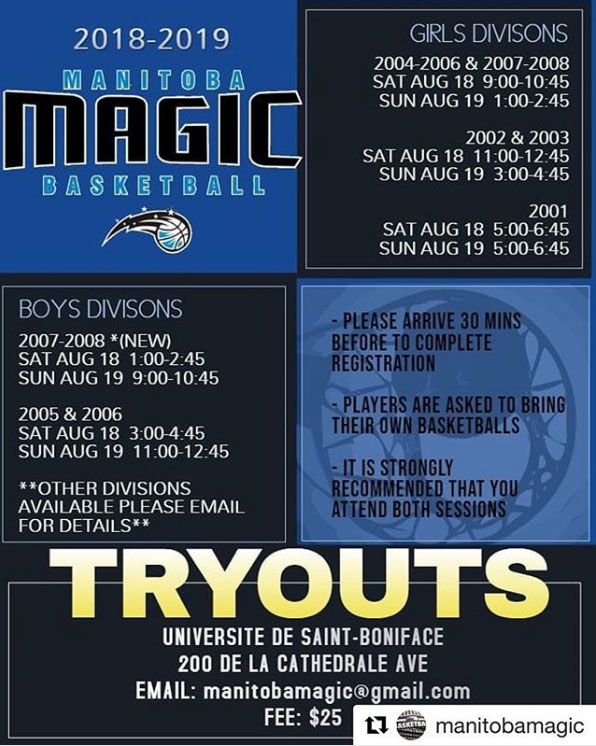 Manitoba Magic Basketball Club Announce Tryouts for Boys