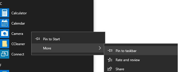 Menampilkan aplikasi di taskbar melalui start menu