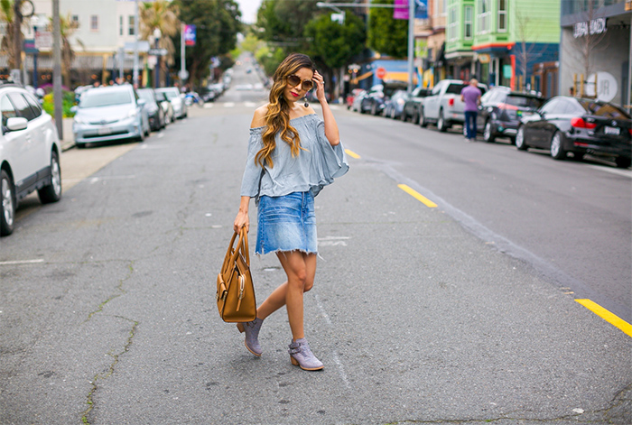 ASTR the label off shoulder top, medewell denim skirt, henri bendel rivington convertible tote, swarovski sunglasses, cat footwear cheyenne boots, san francisco street style, san francisco fashion blog, spring outfit ideas, baublebar crispin drop earrings