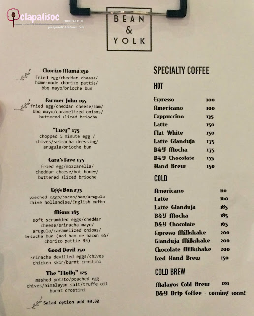 Bean & Yolk Menu