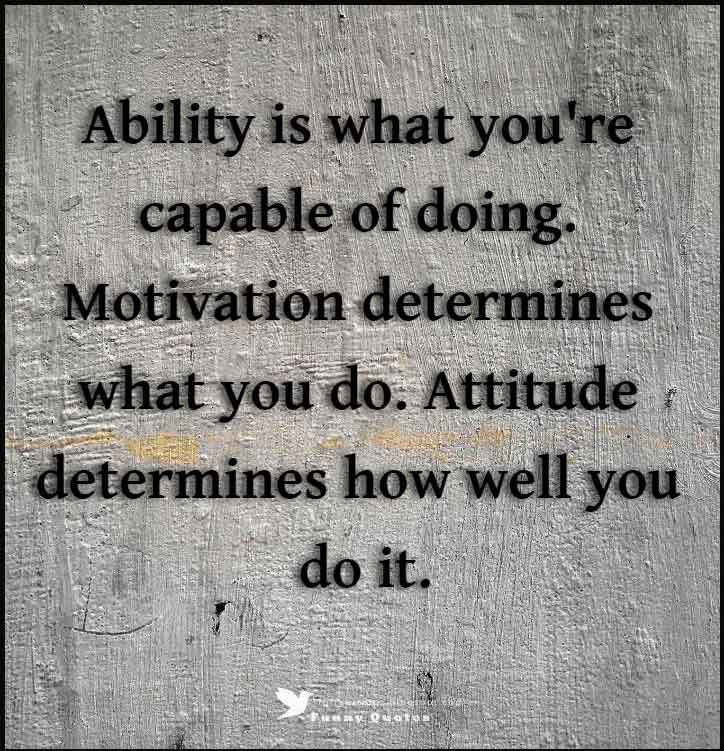 Ability is what you're capable of doing. Motivation determines what you do. Attitude determines how well you do it. - Lou Holt