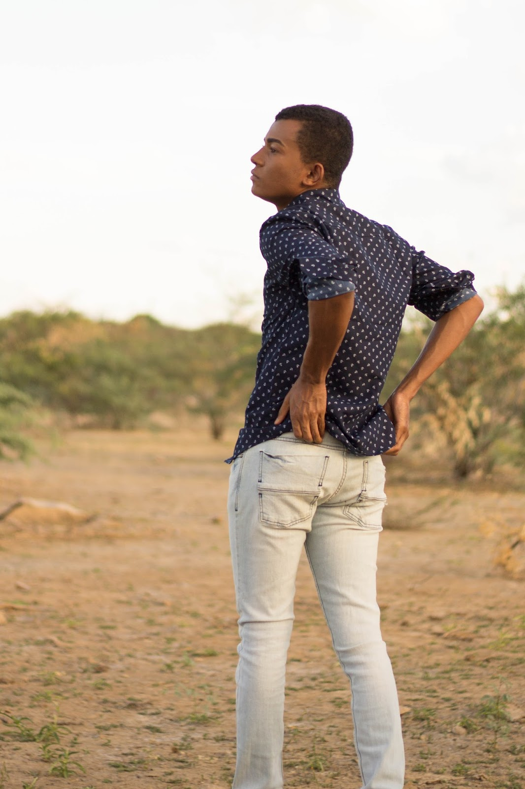 Camisa masculina manga longa com estampa de âncora