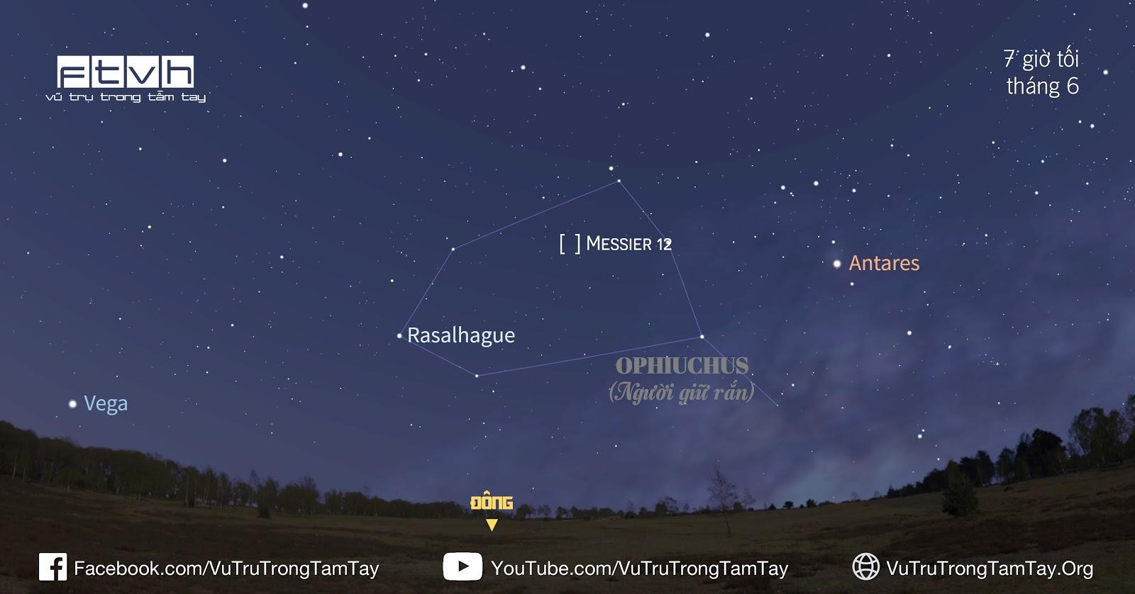 Vị trí của Messier 12 ở hướng đông trên bầu trời tháng 6 lúc 7 giờ tối. Hình ảnh: Stellarium/Ftvh - Vũ trụ trong tầm tay.