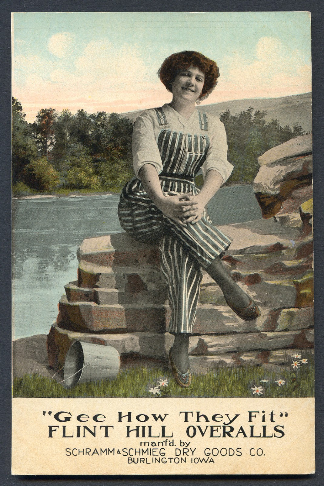 cdeb502ce15b Union-Made  1913 Flint Hill Overalls Advertising Postcard
