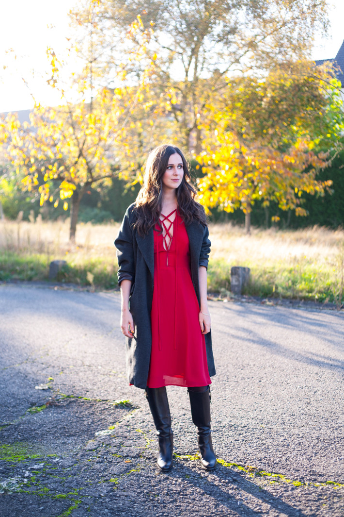 Outfit: date night in red lace up dress and knee high boots