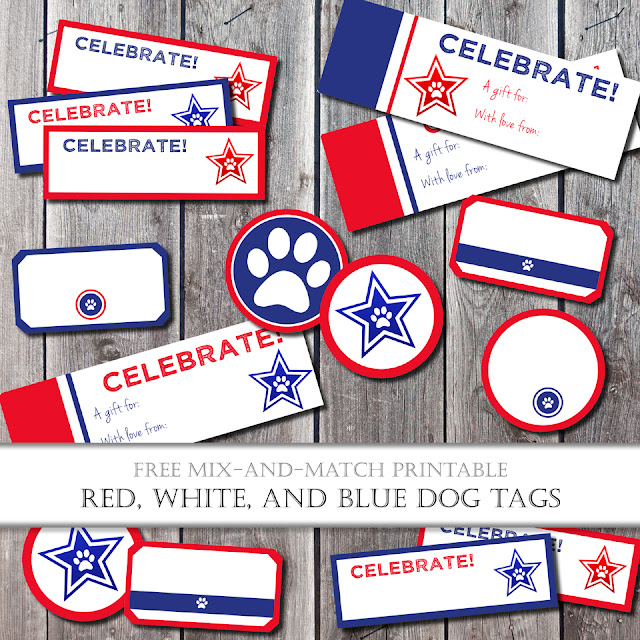 Free Printable Red White & Blue Dog Treat Tags and Labels | Perfect for a Pawesome Fourth of July!