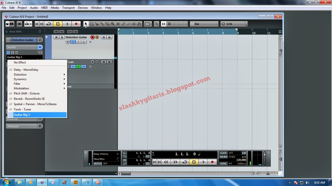 efek gitar, Guitar Rig 5, cubase, tutorial, home recording,