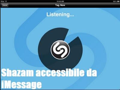 Aggiornamento Shazam: accessibile da iMessage