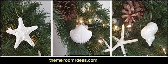 Coastal Christmas decorating theme - coastal Christmas decor - beach christmas  - Beach Christmas Decorations  - seaside decor - coastal ornaments - beach themed Christmas decorations - beach themed christmas tree -  sea themed ornaments -  nautical accents - beach themed ornaments - coastal Christmas tree skirts - beach & seaside decorations