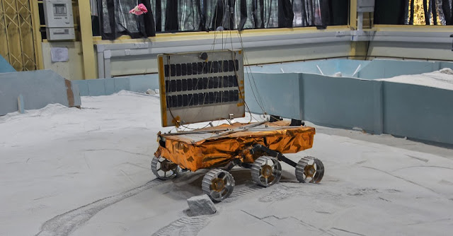 A model of Chandrayaan-2's rover undergoing tests. Photo Credit: ISRO