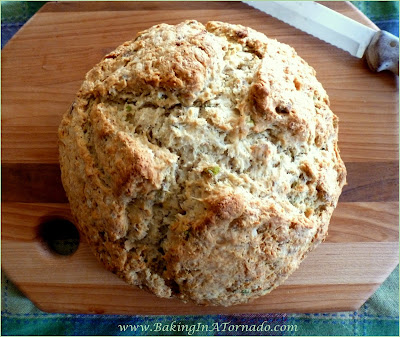 Pistachio Soda Bread, a simple Irish quick bread enhanced with the flavor of pistachios | Recipe developed by www.BakingInATornado.com | #recipe #bread