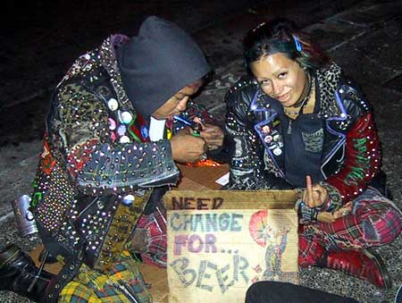Crust punk panhandling for beer