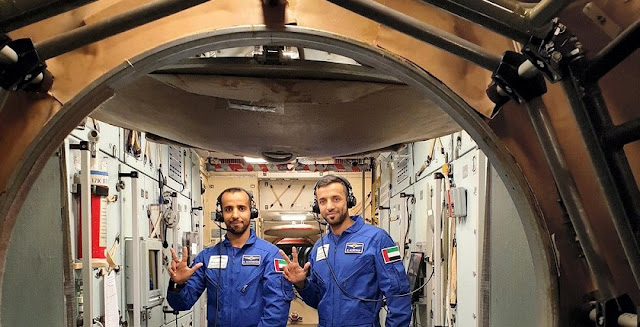 Sultan Al Neyadi and Hazza al Mansouri in training at the Russian Yuri Gagarin Center in preparation for a historic trip to the International Space Station on April 5, 2019.
