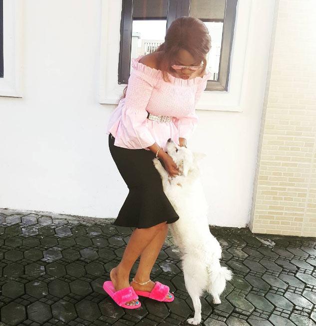 Iyabo Ojo flaunts pet dog, doesn't name it Buhari or Jonathan