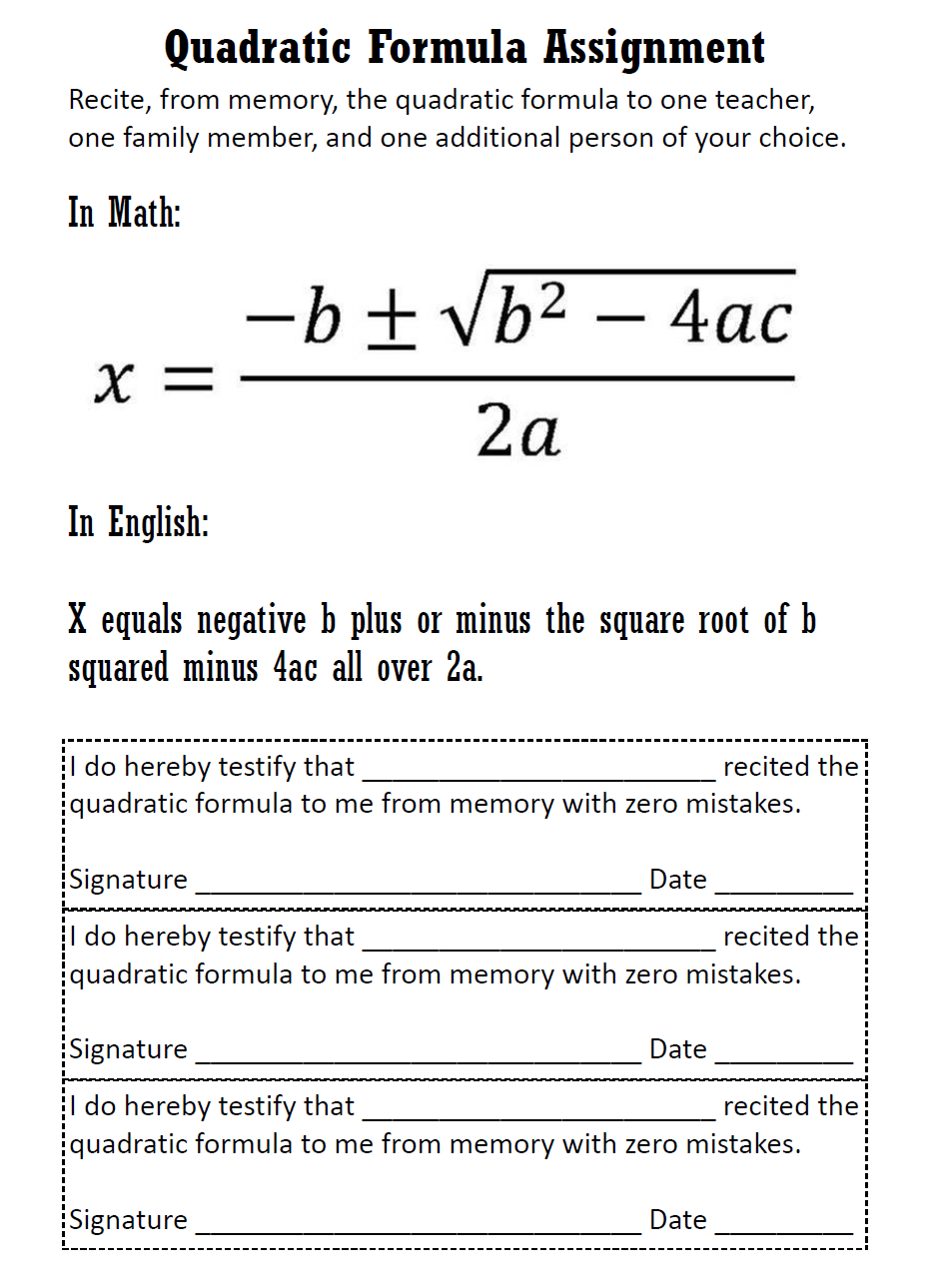 Math = Love: Quadratic Formula Interactive Notebook Page