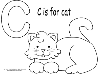 Free For Kids C Is Cat Colouring Page