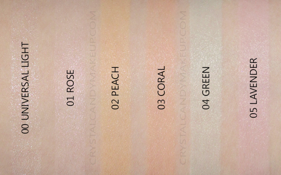 Clarins SOS Primers Swatches 00 Universal Light 01 Rose 02 Peach 03 Coral 04 Green 05 Lavender