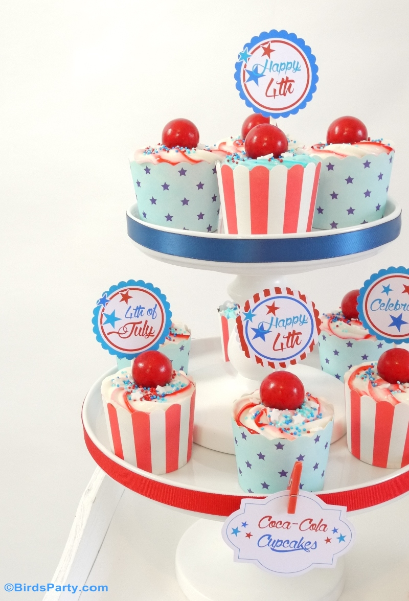 4th of July Coca-Cola® Chocolate Cupcakes Recipe with  Stars & Stripes Swirl Frosting