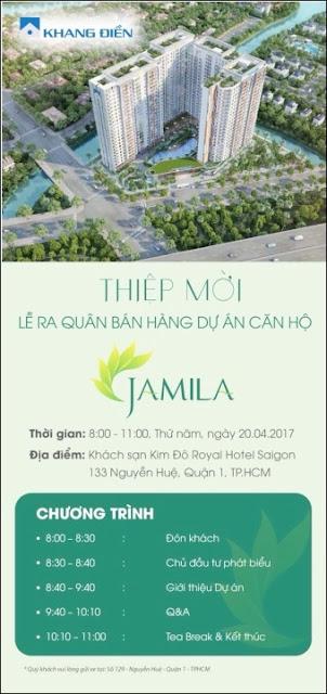 Thiệp mời lễ ra quân mua hàng căn hộ Jamila Khang Điền