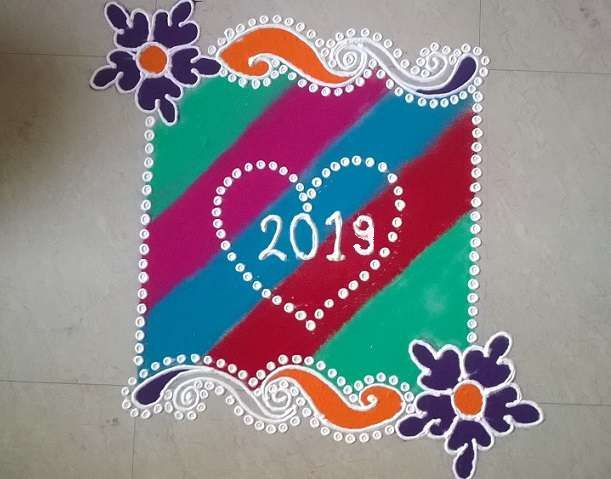Rangoli Designs Of Happy New Year New Year Rangoli 2019 - Happy
