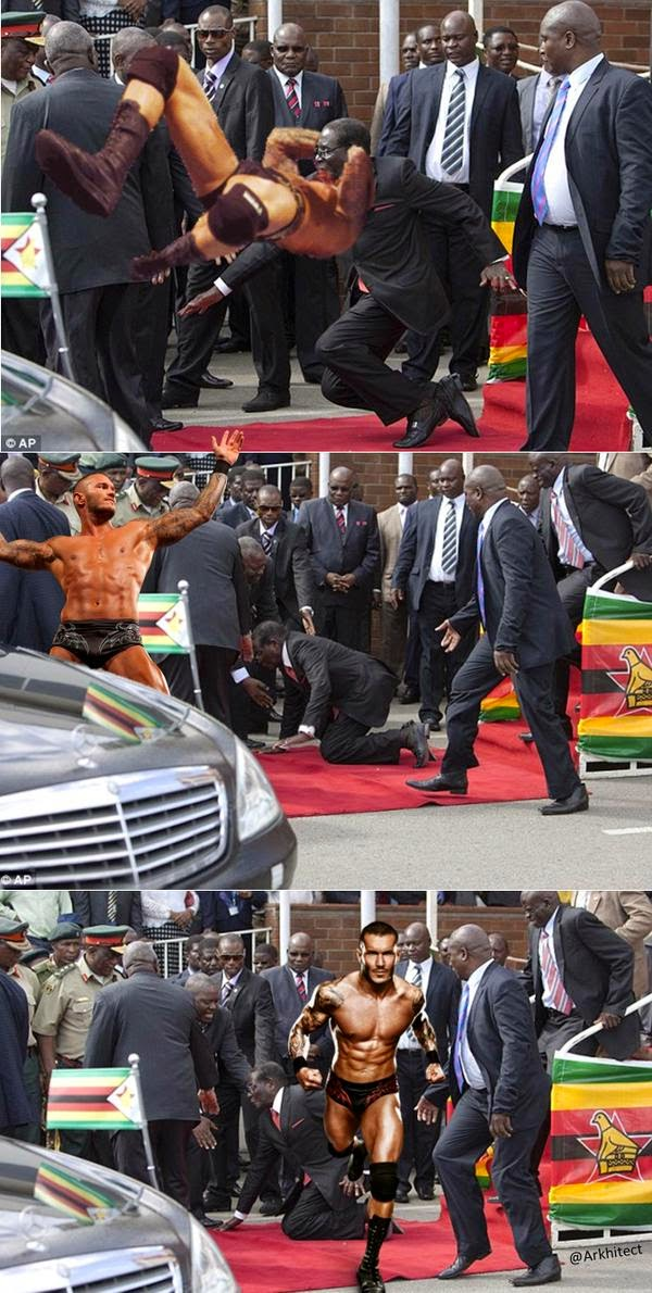 Mugabe gets knocked down by WWE superstar  Randy Orton via geniushowto.blogspot.com #Mugabefalls Memes