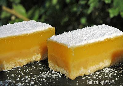 barres au citron, lemon bars, citron, dessert au citron, une tuerie au citron, patissi-patatta
