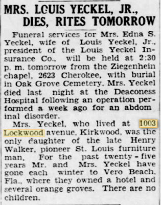 obituary in 1935 for Edna Yeckel