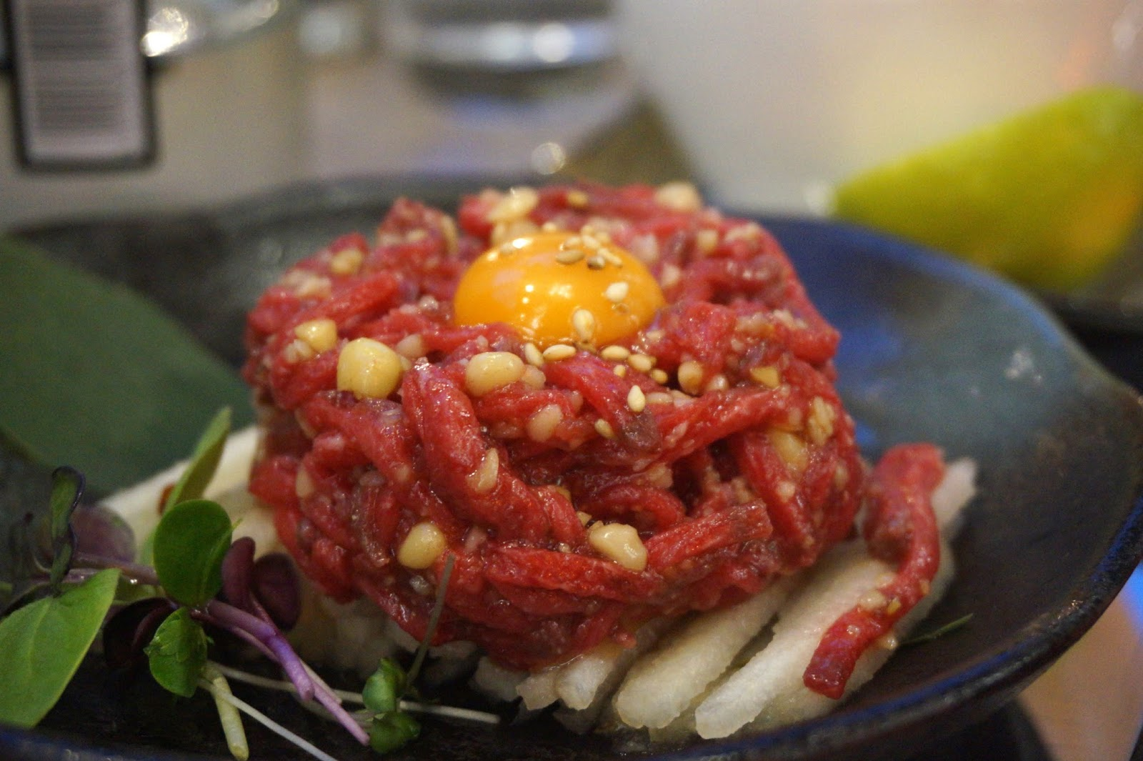 beef tartare with raw egg yolk
