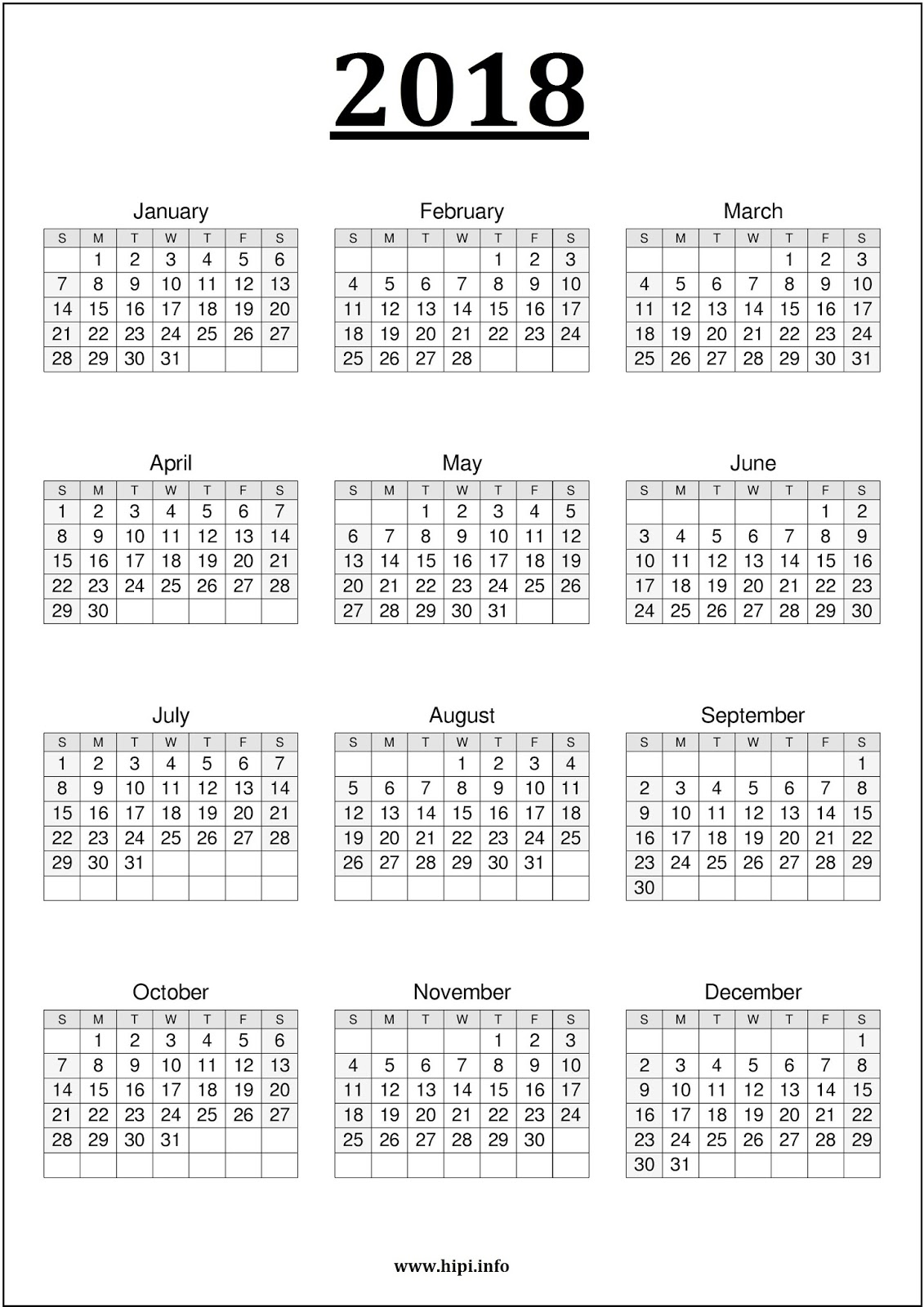 1 page yearly calendar 2017 calendar template 2018