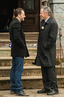 Jonny Lee Miller as Sherlock Holmes and Aidan Quinn as Captain Gregson in CBS Elementary Episode # 20 Dead Man's Switch