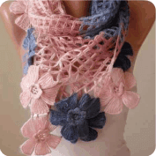 Bufanda con flores a Crochet