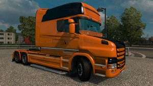 Scania T Black & Orange Skin